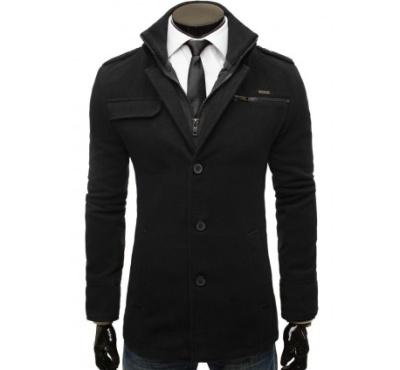 Elegantní dlouhý černý kabát