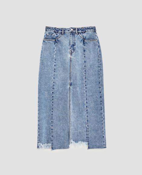 Midi džínová sukně