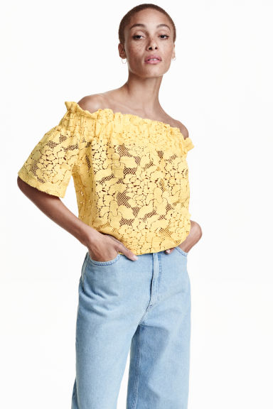 Žlutá krajkové tunika