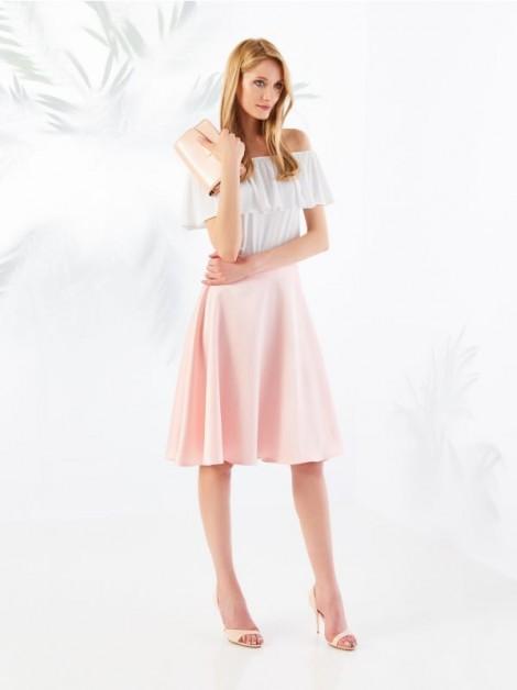 růžová midi sukně