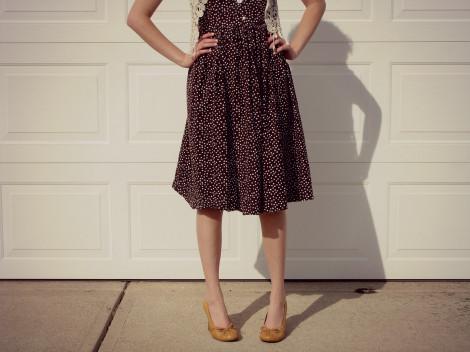 Puntíkovaná retro sukně