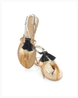 Sandály s peřím