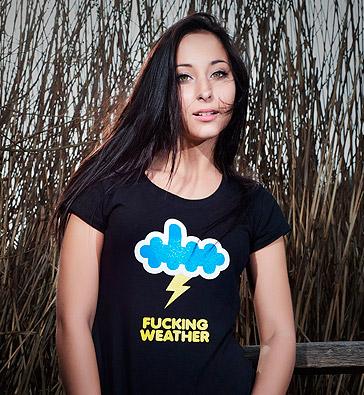 Vtipné tričko Fucking weather